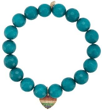 Sydney Evan 14kt gold, sapphire and tsavorite heart charm jade beaded bracelet
