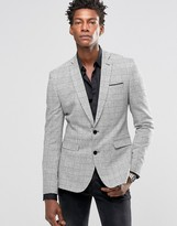 Asos Super Skinny Blazer in Monochrome Check