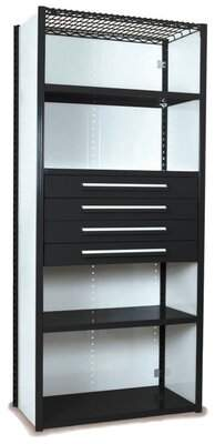 """Equipto V-Grip 84"""" Shelving with Drawers Unit Equipto Finish: Textured Black, Size: 84"""" H x 48"""" W x 18"""" D"""