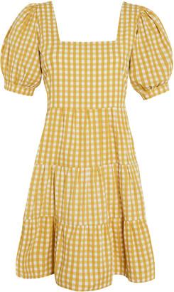 Faithfull The Brand Eldora Mari Check Print Cotton Poplin Mini Dress