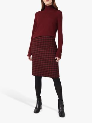 Hobbs Daphne Check Print Wool Skirt, Red/Black