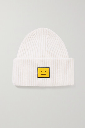 Acne Studios + Net Sustain Appliqued Ribbed Wool Beanie - White