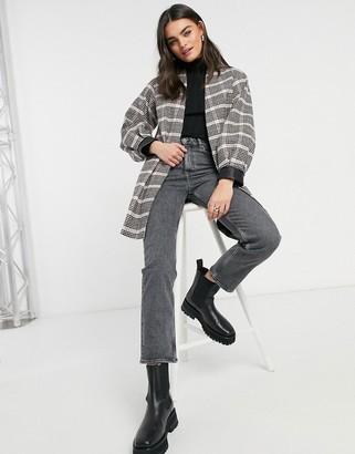 Helene Berman volume sleeve short wool blend coat in check