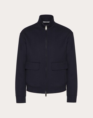 Valentino Double-faced Blouson Man Navy Virgin Wool 90%, Cashmere 10% 44