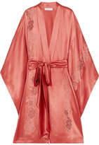 Carine Gilson Embroidered Chantilly Lace-trimmed Silk-satin Robe