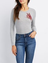 Charlotte Russe Floral Patch Ribbed Bodysuit
