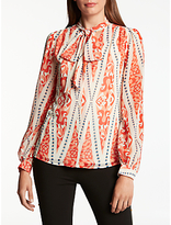 Somerset by Alice Temperley Tie Neck Long Sleeve Blouse, Red