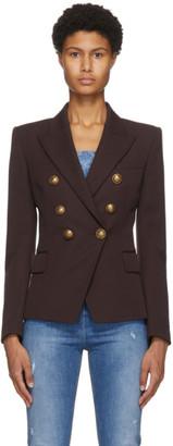 Balmain Brown Grain De Poudre 6-Button Jacket
