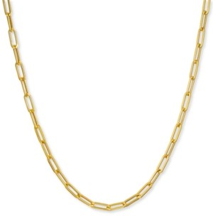 "Italian Gold Paperclip Link 24"" Chain Necklace in 14k Gold"