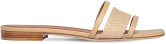 Malone Souliers 10mm Raffia & Leather Slide Sandals