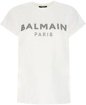 Balmain Rhinestone-Embellished Logo T-Shirt