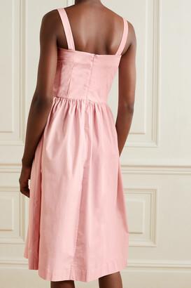 HVN Laura Embroidered Cotton-blend Poplin Midi Dress - Pink