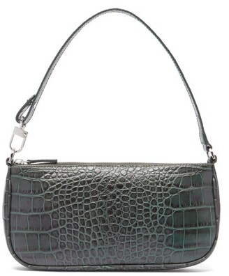 BY FAR Rachel Crocodile-effect Leather Shoulder Bag - Dark Green