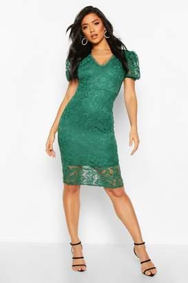 boohoo Puff Sleeve V-Neck Lace Midi Dress