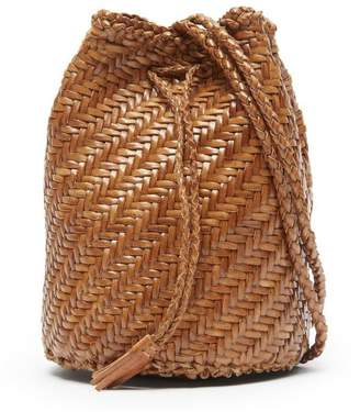 Dragon Optical Diffusion Pom Pom Double Jump Woven Leather Cross-Body Bag