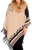 Black Double Sided Cashmere and Wool Fur Trimmed Poncho