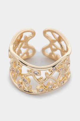 francesca's Tori Filigree CZ Leaf Adjustable Ring - Gold
