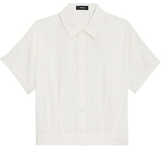 Theory Cropped Short-Sleeve Button-Down Shirt