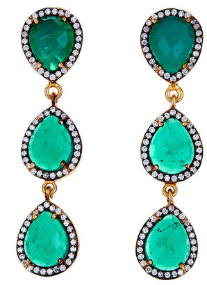 Forever Creations Usa Inc. Forever Creations Gold Over Silver 30.00 Ct. Tw. Chalcedony & Simulated Diamond Drop Earrings