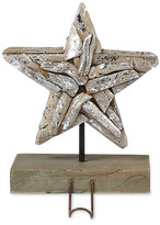 Mud Pie Brown Silver Brush Driftwood Star Stocking Holder