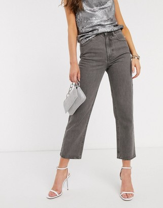 Asos Design DESIGN Florence authentic straight leg jeans in dark grey wash