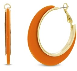 Catherine Malandrino Women's Gold-Tone Orange Resin Hoop Earrings