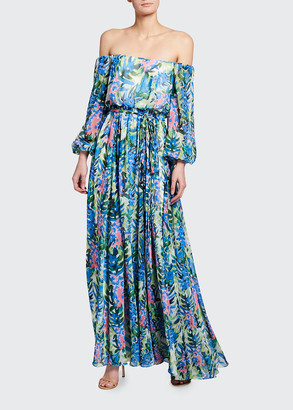 Badgley Mischka Floral Print Off-the-Shoulder Chiffon Gown
