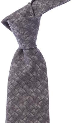 Isaia Grey Basketweave Wool & Silk-Blend Tie