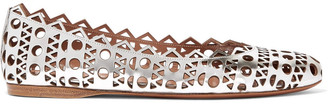 Alaia Laser-cut Metallic Leather Ballet Flats