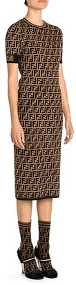 Fendi Knit Allover Logo Midi Dress