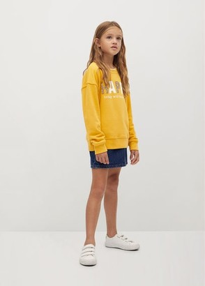 MANGO Crystals message cotton sweatshirt
