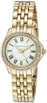Anne Klein Women's AK/2290WTGB Swarovski Crystal-Accented Gold-Tone Bracelet Watch