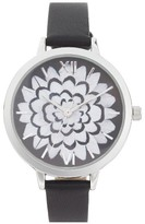 Topshop Women's Flower Leather Strap Watch, 37Mm