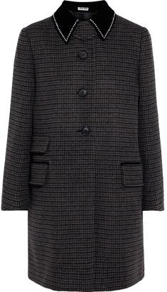 Miu Miu Crystal-embellished Velvet-trimmed Houndstooth Wool Coat