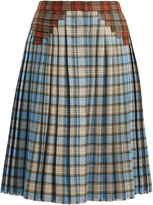 Marco De Vincenzo Multi-checked pleated wool skirt
