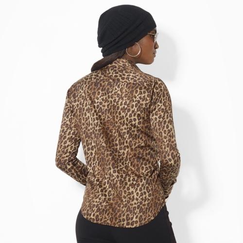 Ralph Lauren Leopard-Print Sateen Blouse