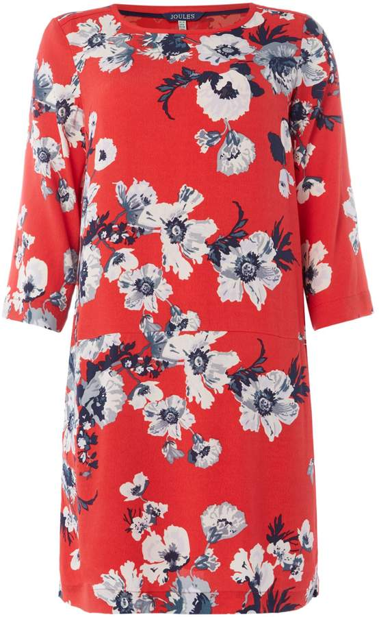 Joules Short sleeve crew neck floral woven shift dress