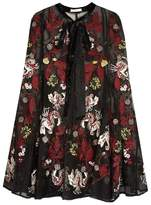 Erdem Flo floral-embroidered silk-organza cape