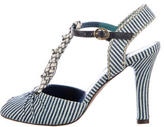 Fendi Striped Peep-Toe Sandals