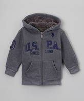 U.S. Polo Assn. Dark Gray 'U.S.P.A.' Zip-Up Hoodie - Boys