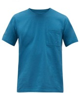 Vilebrequin Logo-embroidered Patch-pocket Cotton T-shirt - Mens - Blue