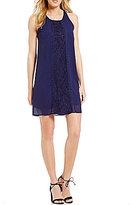 I.N. San Francisco Lace-Panel Shift Dress