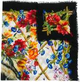 Dolce & Gabbana floral and tiger print scarf