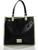 Marc by Marc Jacobs Black Leather Gold Tone Ivory Snakeskin Trim Tote Handbag