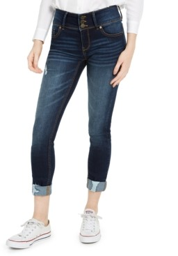 Indigo Rein Juniors' High-Waisted Triple-Button Cuffed Skinny Jeans