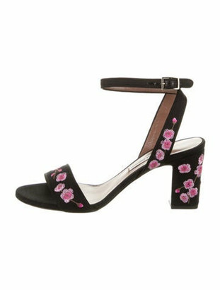 Tabitha Simmons Floral Print Embroidered Accent Sandals w/ Tags Black