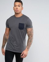 French Connection Longline Contrast Pocket T-Shirt