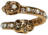 Alexander McQueen Gold Crystal and Pearl Twin Skull Ring