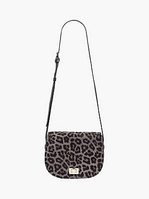 Hobbs Oxford Leather Leopard Print Saddle Bag, Grey