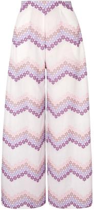 Miguelina Pamela Embroidered Cotton Wide-leg Pants